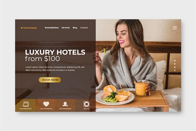 Креативная целевая страница отеля с фото