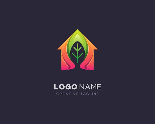 Creative house leaf logo