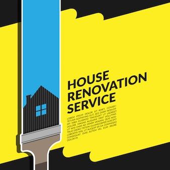 Creative house renovation service blue logo