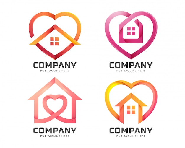 Creative house with love shape logo template