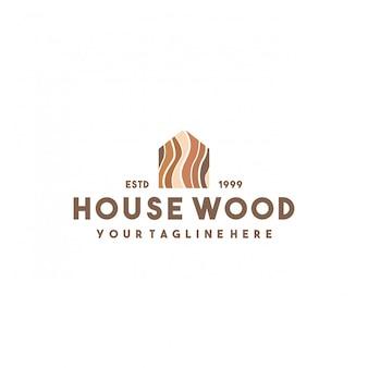 Креативный дизайн логотипа дома из дерева