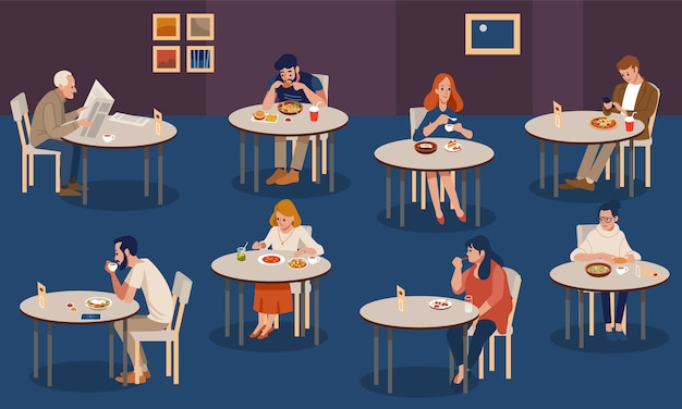 Creative human collection. tiny people sitting at tables in large hall and eating.