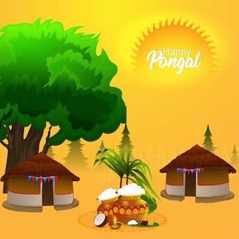 Creative hut concept for happy pongal with mud pot