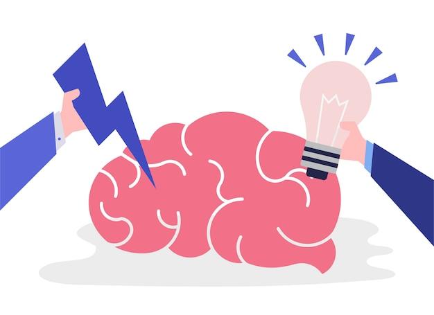 創造的なアイデアと思考脳のアイコン