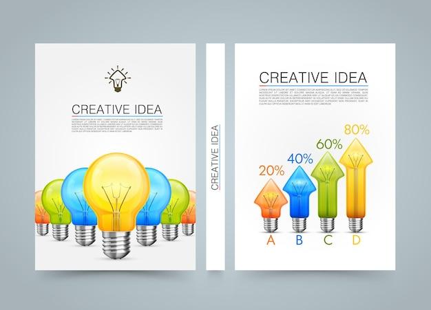 창의적인 아이디어 배너 정보, 아이디어 램프 화살표 위쪽, a4 크기 용지