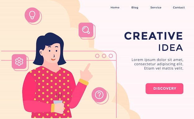 Creative idea campaign for web website template page landing home homepage with modern flat cartoon style.