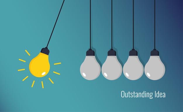 Creative idea concept, five hanging bulbs