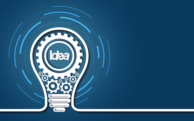 独創的なアイデアのコンセプト。青の背景に電球ギアアイコン