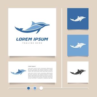 현대적인 파란색을 사용한 창의적인 아이디어 돌고래 로고 디자인. 귀여운 아이콘 및 기호 디자인 벡터