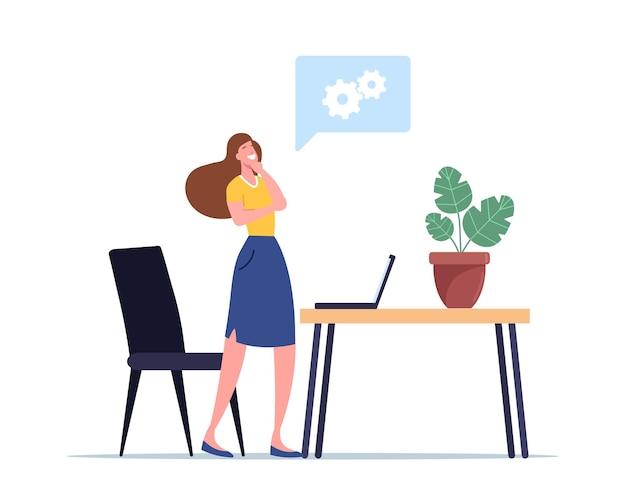 クリエイティブなアイデア、ユーレカのイラスト。プロジェクト開発のための洞察を検索するビジネスウーマンのキャラクター