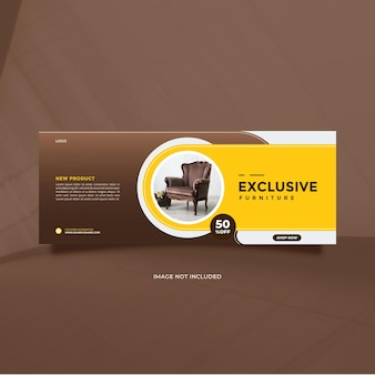 Creative idea exclusive furniture sale for social media post and banner promotion with brown yellow