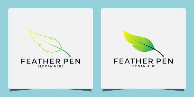 クリエイティブなアイデアの羽ペンの線画とグラデーションカラーのフラットなデザイン