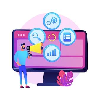 Icona piana di idea creativa. progetto internet innovativo, attività pubblicitaria, promozione online. uomo con personaggio dei cartoni animati di altoparlante.