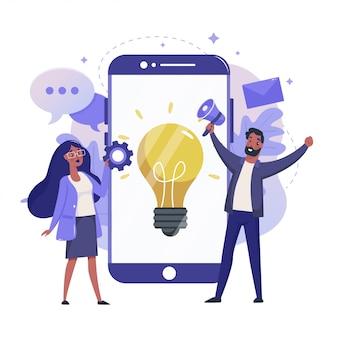 独創的なアイデアフラットイラスト。創造性とインスピレーションのカラーデザイン。電球と幸せな人々のカラフルなコンセプトは、白い背景で隔離の携帯電話。