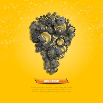 Creative idea illustrated by function of black gears and cogs on yellow geometry background.