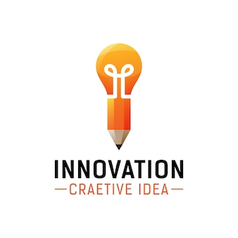 Creative idea, innovation logo design, pencil with bulb for tools school concept logo