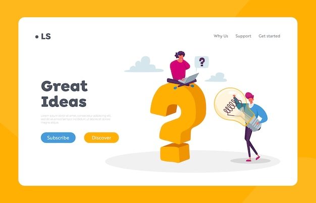 Creative idea landing page template.. business man character hold huge light bulb, woman sit on question mark with laptop in hands
