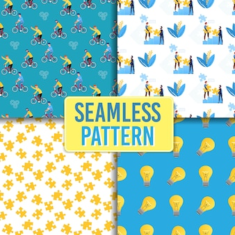 Creative idea and leadership seamless pattern set