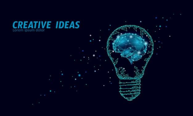 Творческая идея лампочку ночное звездное небо. низкая поли многоугольной бизнес мозговой штурм запуска темно-синий космический современный геометрический 3d лампа. изобретение вдохновение в форме мозга