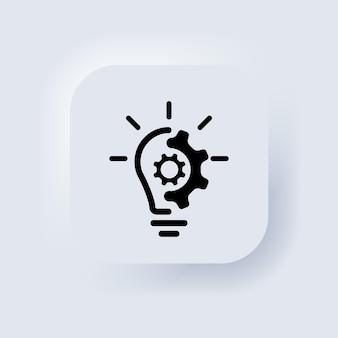 Значок линии творческой идеи. комок со значком шестеренки. мозг в лампочке векторные иллюстрации. тонкий знак инноваций, решения, образования логотип. белая веб-кнопка пользовательского интерфейса neumorphic ui ux. вектор eps 10