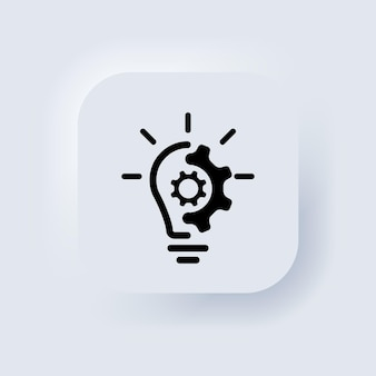 Creative idea line icon. lump with gear icon. brain in lightbulb vector illustration. thin sign of innovation, solution, education logo. neumorphic ui ux white user interface web button. vector eps 10
