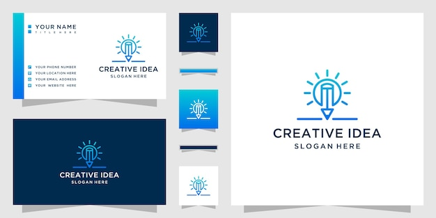 Creative idea logo with line art style pencil logo and light bulb combination