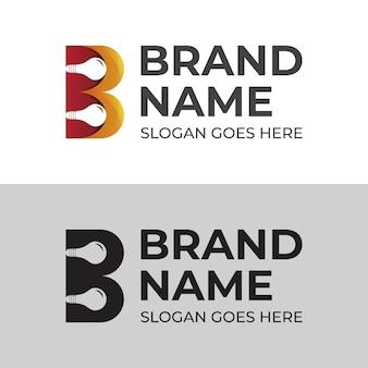 あなたのブランドマークのロゴデザインのための電球ランプのシンボルアイコンと文字bの創造的なアイデアのロゴ