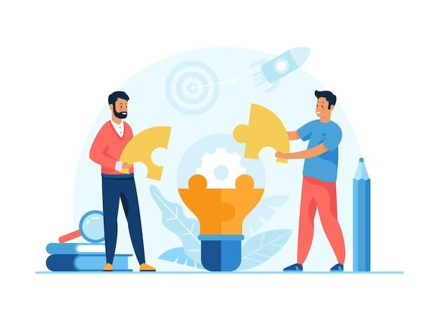 創造的なアイデア。電球を構築するためにパズルを接続する男性の漫画のキャラクターのビジネスマン。チームワーク、協力、ブレインストーミング、パートナーシップ。フラットベクトル図