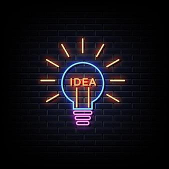 창의적인 아이디어 네온 사인. 창의적인 아이디어 네온 로고