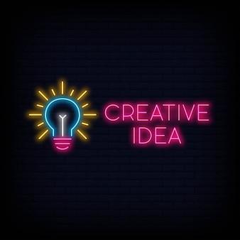 Creative idea neon sign night signboard, bright advertising