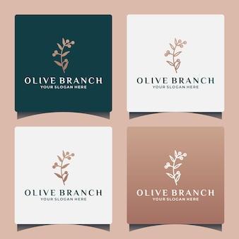 Creative idea olive branch logo design inspiration spa, saloon, etc