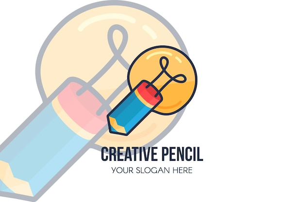 Креативная идея, карандаш и лампочка для дизайна логотипа. шаблон плаката с копией пространства для слогана компании. креативное агентство бизнес и концепция запуска. векторная иллюстрация