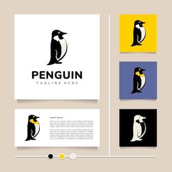 창의 아이디어 펭귄 로고 디자인 귀여운 새 아이콘 및 기호 디자인 매체