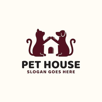 Creative idea pet house dog and cat hipster vintage logo design for animal pet shop and store