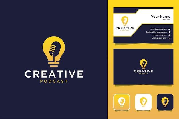 クリエイティブなアイデアのポッドキャストのロゴデザインと名刺