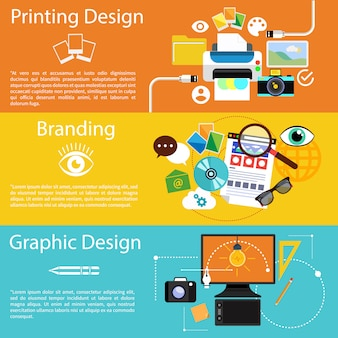Creative idea, printing process, graphic design and branding