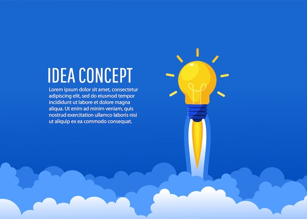 Creative idea rocket flies up into the sky. startup, creating a new concept, flat lay style,  illustration