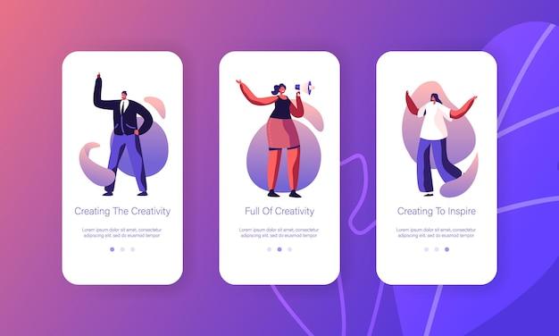 창의적인 아이디어 검색 모바일 앱 페이지 온보드 화면 세트.