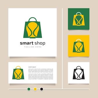 Креативная идея, умный дизайн логотипа магазина. зеленый желтый значок и символ дизайн вектор