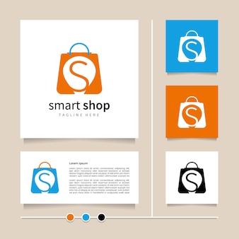 Креативная идея умный магазин логотип дизайн значок и символ с комбинацией буквы s и сумки для покупок