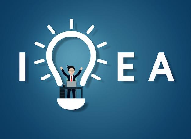 Creative idea text light bulb