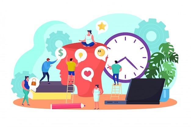 Сыгранность творческой идеи думая, иллюстрация. бизнес работники вместе проводят мозговые штурмы, развивают идею. креативный директор