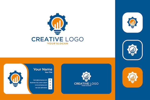 램프 및 기어 로고 디자인 및 명함을 사용한 창의적인 아이디어