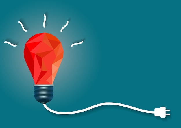 Creative idea with light bulb red on blue background