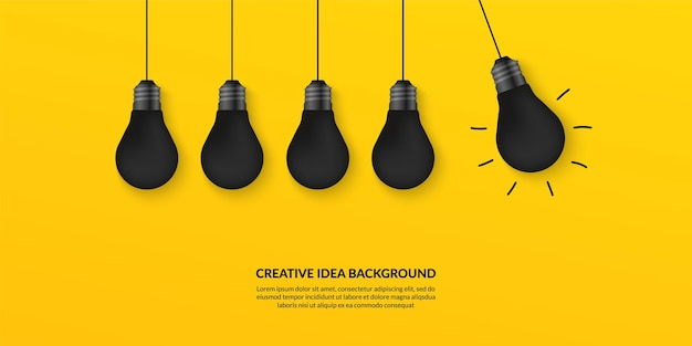 Creative idea with light bulbs on yellow background, think different concept