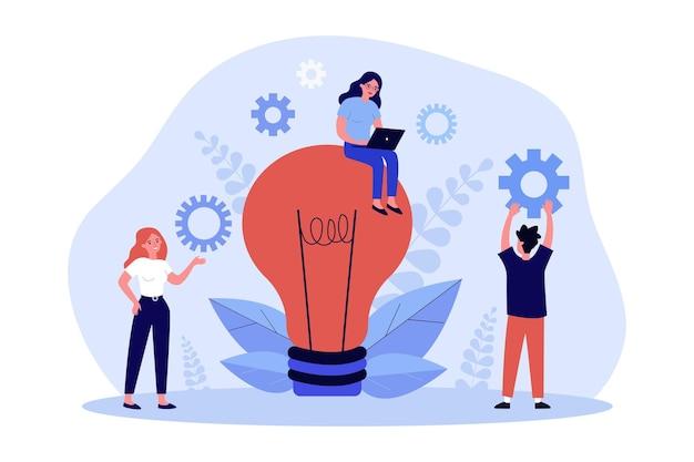 Творческая идея, рабочий процесс команды деловых людей. крошечные мужчины и женщины персонажи стоя, работая с ноутбуком возле плоской векторной иллюстрации лампочки. работа в команде над концепцией создания новой идеи