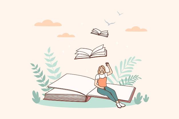 創造的なアイデアと本のメッセージの概念図