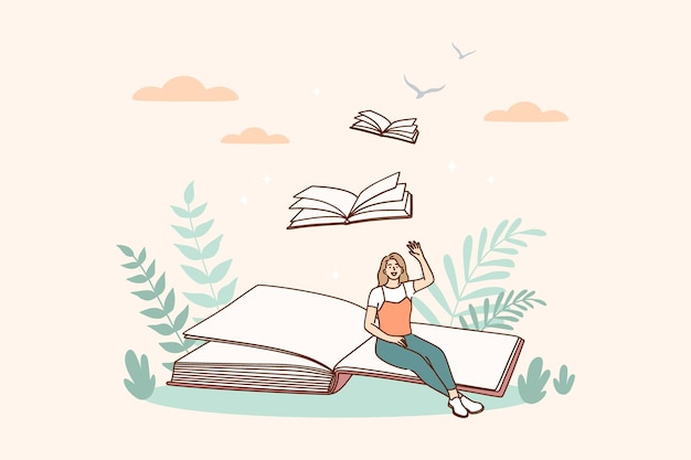 Creative ideas and books message concept illustration