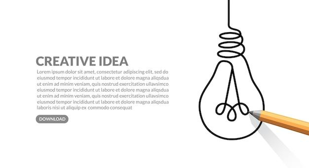 白い紙に電球を描く創造的なアイデアの概念の背景鉛筆