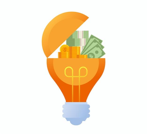 Творческие идеи концепции мозгового штурма. лампочка плоская векторная иллюстрация баннер для целевой страницы